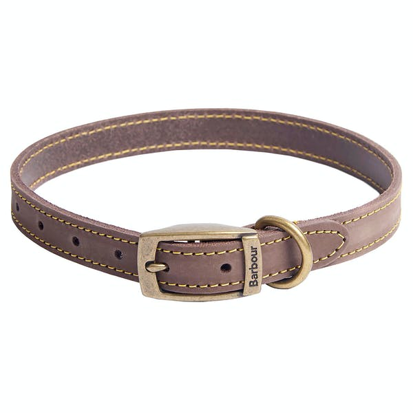 PET CHECK UK Barbour leather dog collar