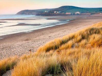 PET CHECK UK long view along Croyde beach North Devon