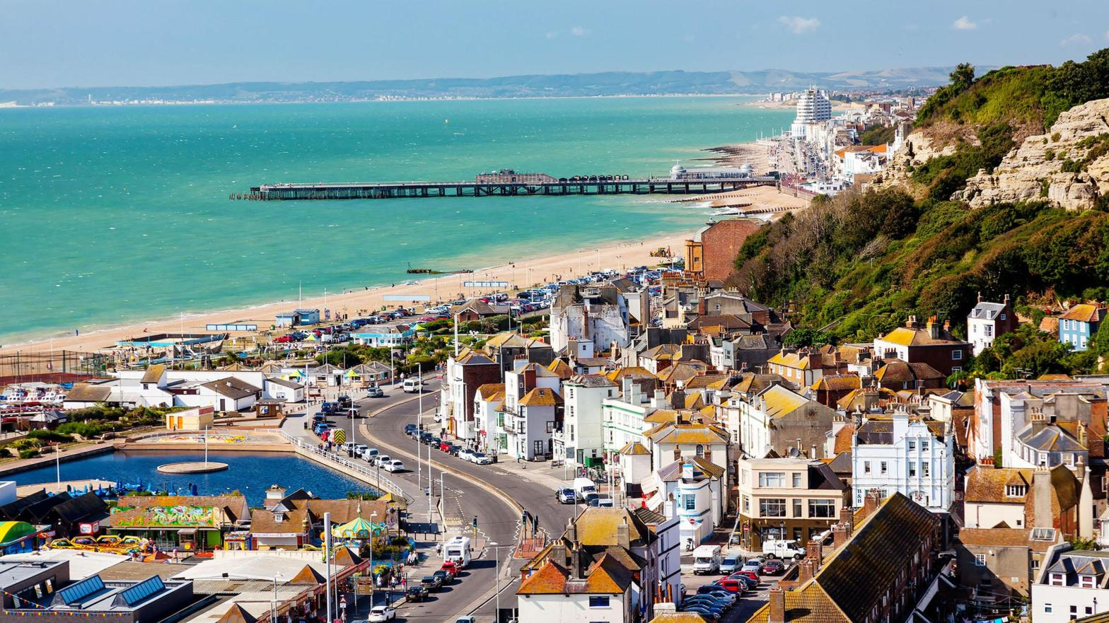 PET CHECK UK Hastings, East Sussex, view from East Cliff