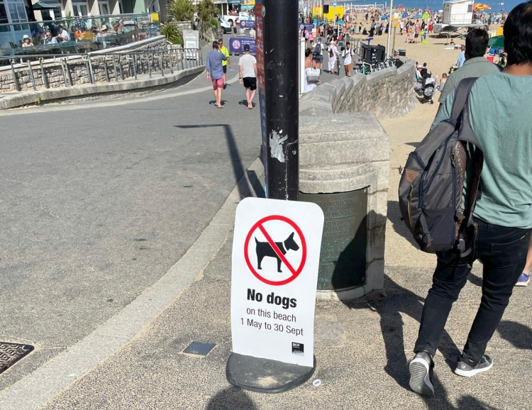 PET CHECK UK Beach restriction notice 1 May to 30 September on promenade